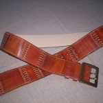 9. The belt - batik technik, stamping. Natural caw leather.