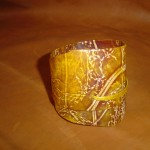 The bracelet Wildflower. Natural leather, wild flowers printing, dyeing.